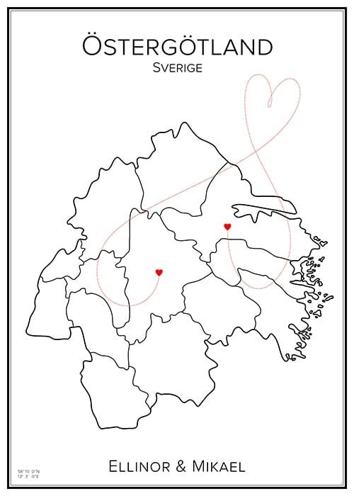 Kärlekskarta - Östergötland