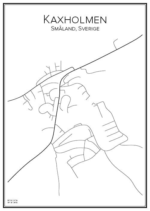 Stadskarta över Kaxholmen