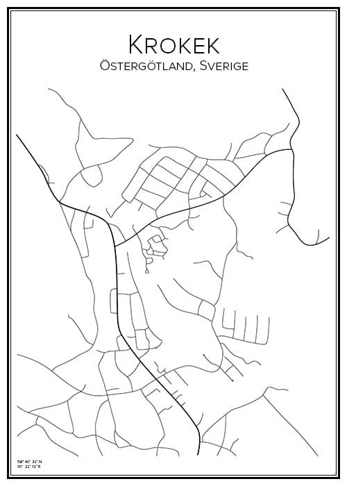 Stadskarta över Krokek