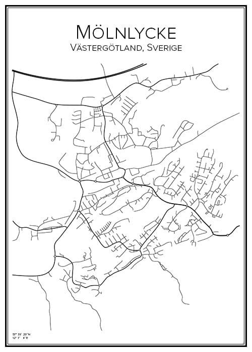 Stadskarta över Mölnlycke