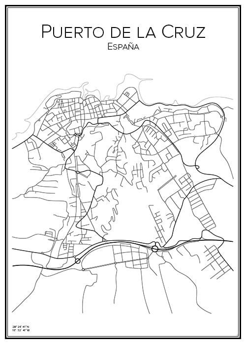Stadskarta över Puerto de la Cruz