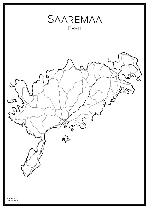 Stadskarta över Saaremaa