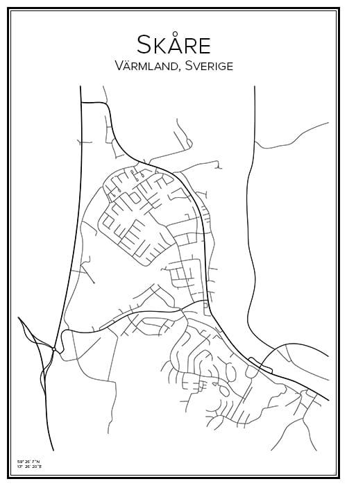 Stadskarta över Skåre