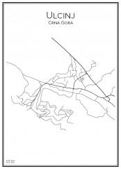 Stadskarta över Ulcinj