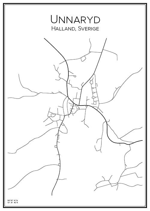 Stadskarta över Unnaryd