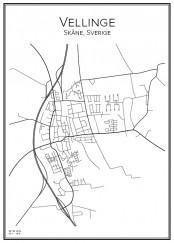 Stadskarta över Vellinge