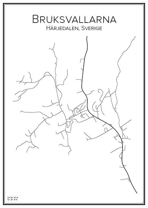 Stadskarta över Bruksvallarna