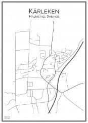 Stadskarta över Kärleken med omnejd