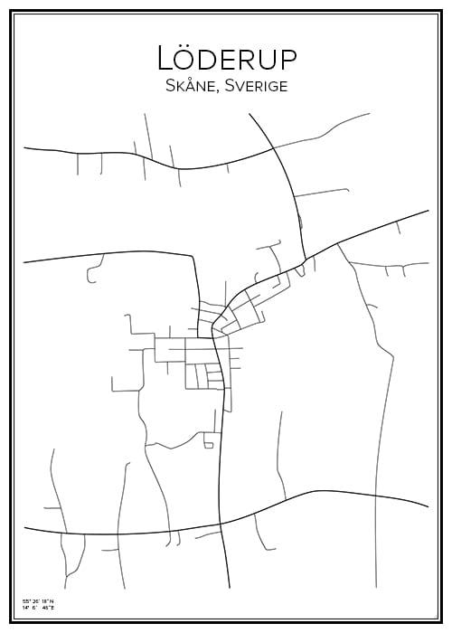 Stadskarta över Löderup