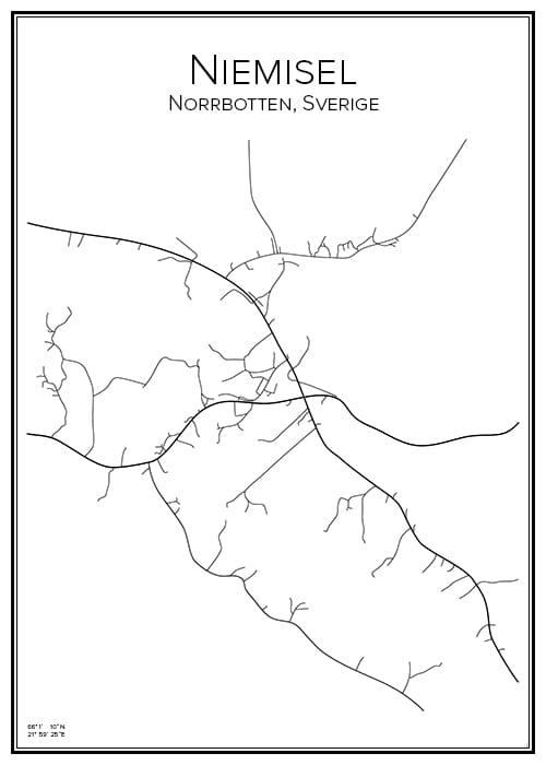 Stadskarta över Niemisel
