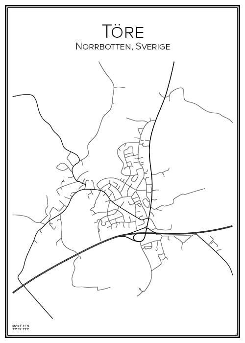 Stadskarta över Töre