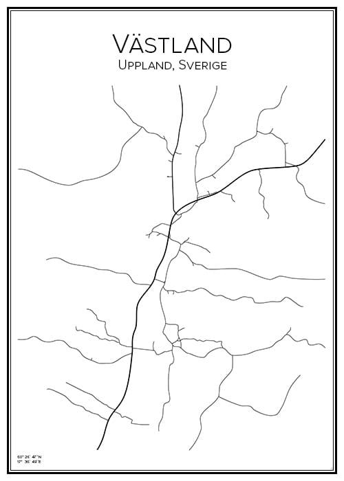 Stadskarta över Västland