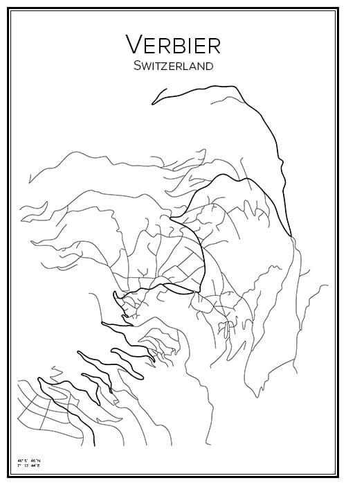 Stadskarta över Verbier