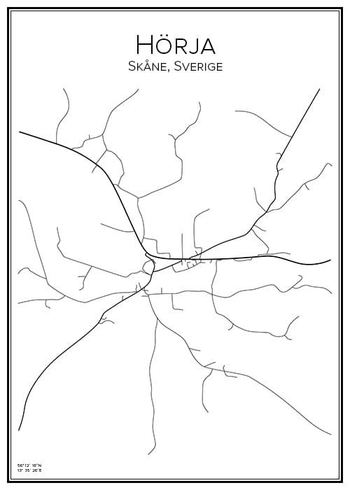Stadskarta över Hörja