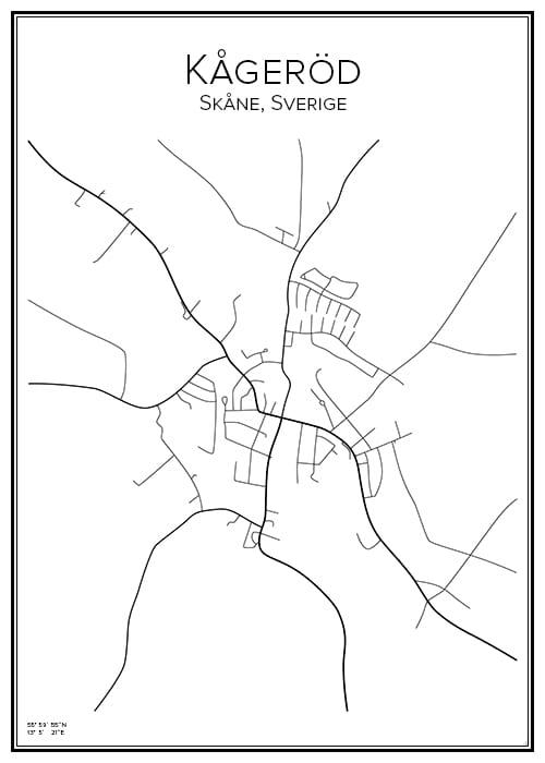 Stadskarta över Kågeröd