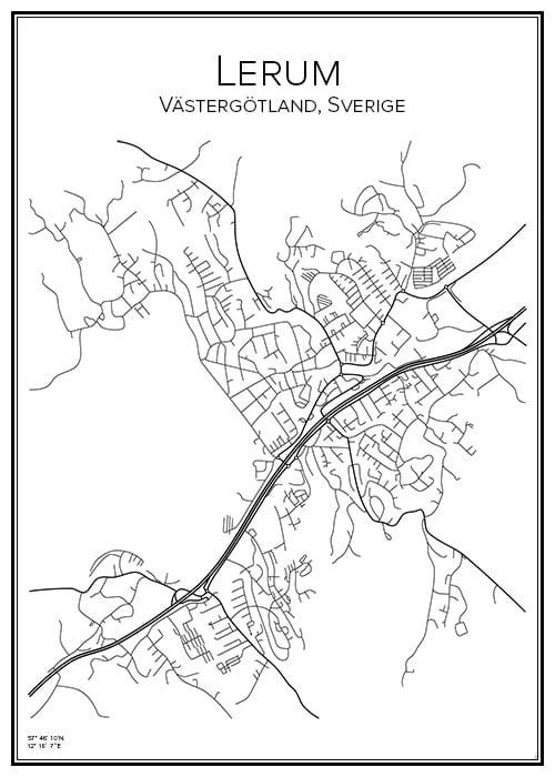 Stadskarta över Lerum