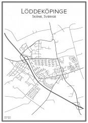 Stadskarta över Löddeköpinge