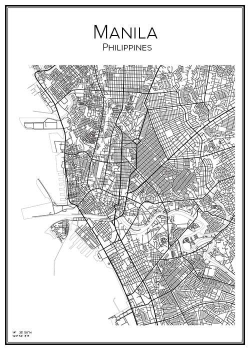 Stadskarta över Manila