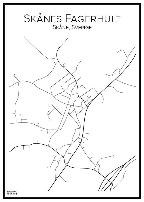 Stadskarta över Skånes Fagerhult