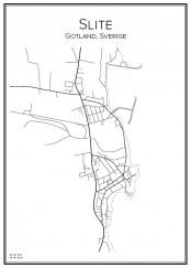 Stadskarta över Slite