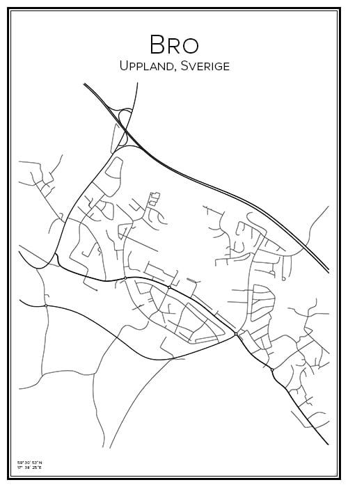 Stadskarta över Bro