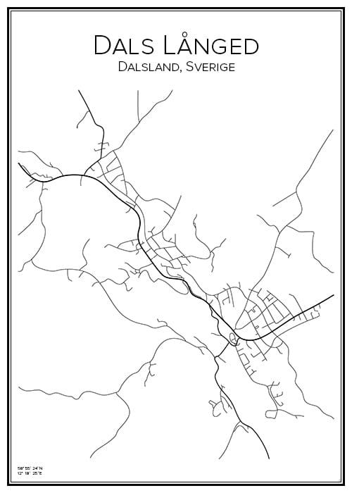 Stadskarta över Dals Långed