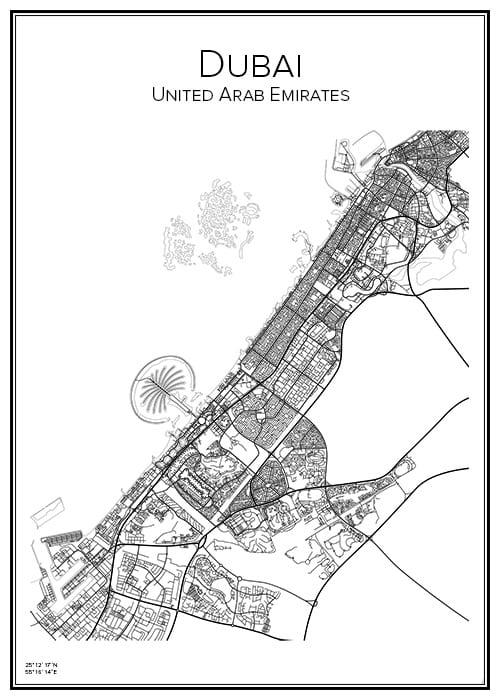 Stadskarta över Dubai