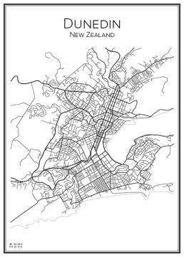 Stadskarta över Dunedin