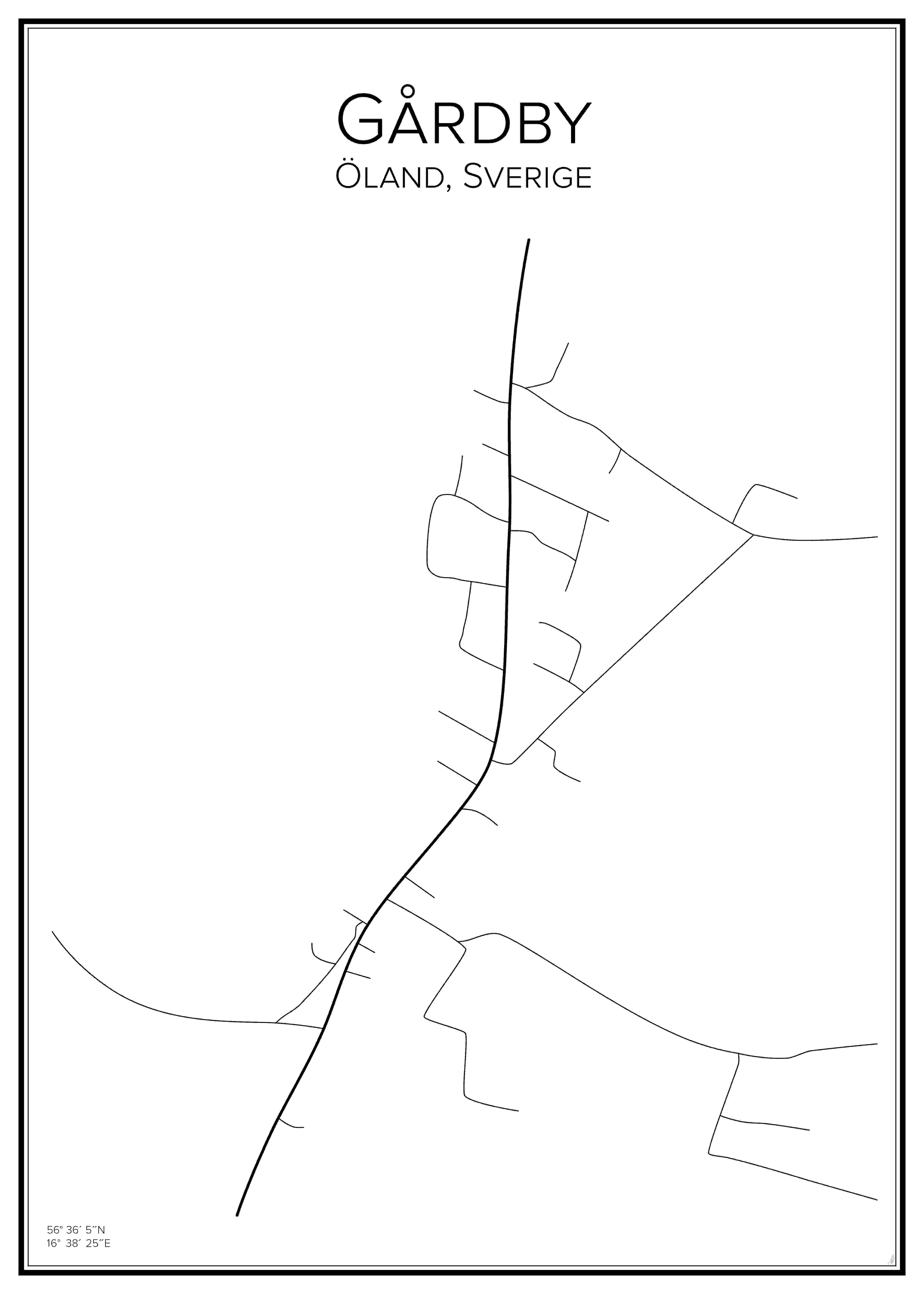 Stadskarta över Gårdby