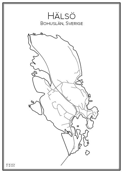 Stadskarta över Hälsö