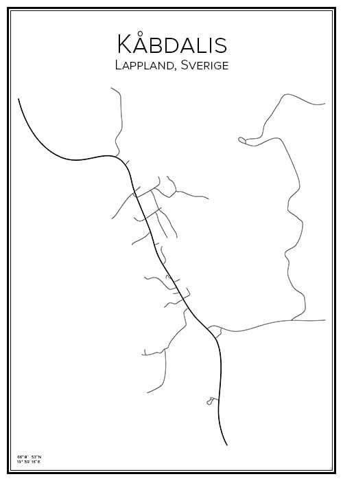 Stadskarta över Kåbdalis