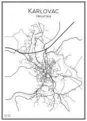 Stadskarta över Karlovac