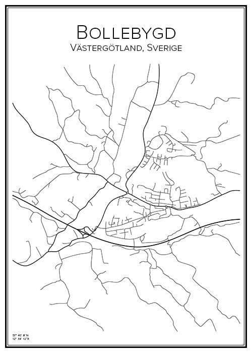 Stadskarta över Bollebygd