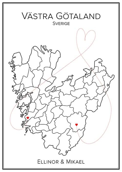 Kärlekskarta över Västra Götaland