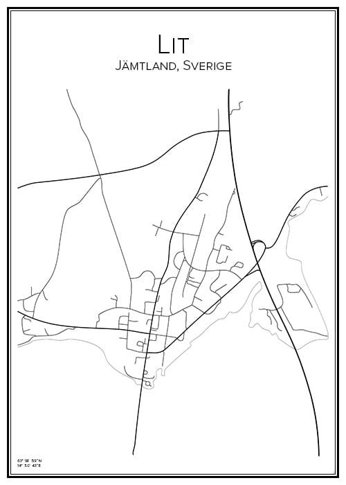 Stadskarta över Lit