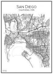 Stadskarta över San Diego
