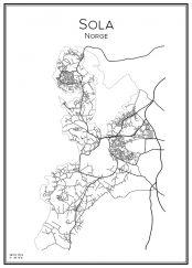 Stadskarta över Sola