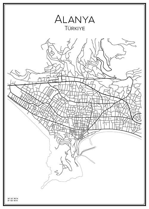 Stadskarta över Alanya