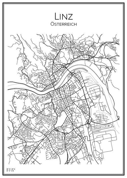 Stadskarta över Linz