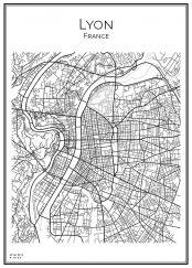 Stadskarta över Lyon