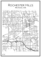 Stadskarta över Rochester Hills