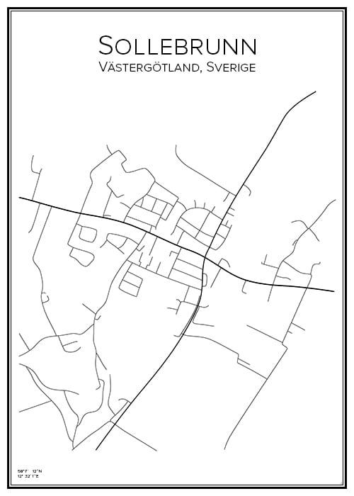 Stadskarta över Sollebrunn