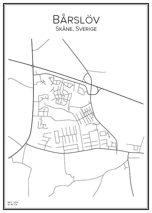 Stadskarta över Bårslöv