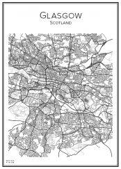 Stadskarta över Glasgow