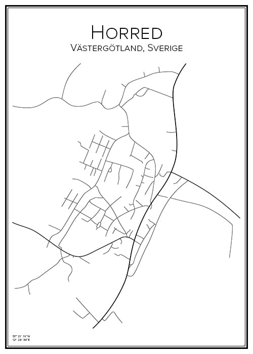 Stadskarta över Horred