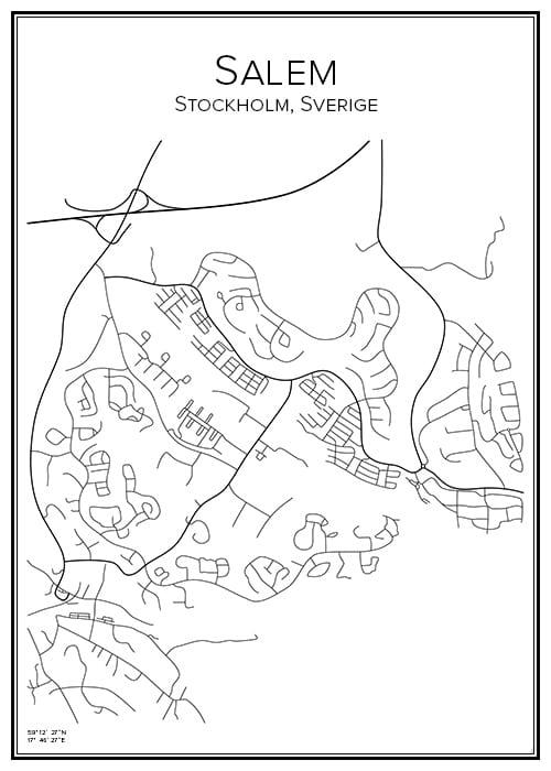 Stadskarta över Salem