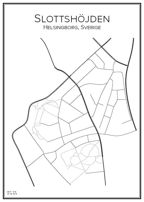 Stadskarta över Slottshöjden