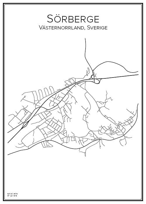 Stadskarta över Sörberge