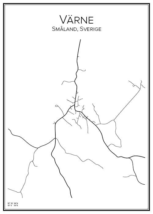 Stadskarta över Värne