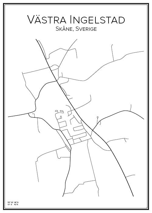 Stadskarta över Västra Ingelstad